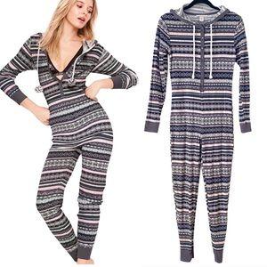 Victoria's Secret Thermal Hooded Pajama Onesie S